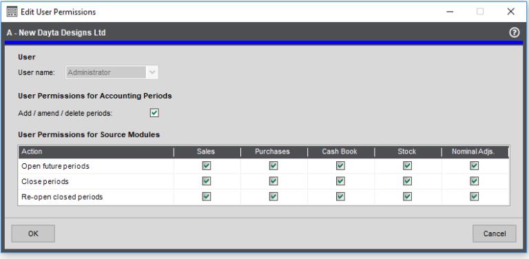 User permissions screenshot
